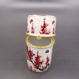 Wholesale Ash Brand - Wholesale- Brand New 9*4cm Chinese Vintage Handmade Porcelain wintersweet flower patten Toothpick Holder& Ash Tray