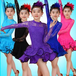 Wholesale Latin Competition Dresses - Tassels Lace Girls Ballroom Latin Dance dress Kids Jazz Performance Costumes competition Party skating dresses kleid Outfits