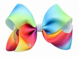 Wholesale Colorful Bow Hair Clips - Retail 4.7 inch Colorful Hair Clip Baby Girl Ribbons Bow Rainbow Rhinestones Fashion Hairpins Hairgrips Baby Accessories JF001