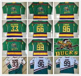 Wholesale Green Duck - 1996-06 Anaheim Mighty Ducks Movie Jersey 33 Greg Goldberg 66 Gordon Bombay 96 Charlie Conway 99 Adam Banks Hockey Jersey Stitched Logos