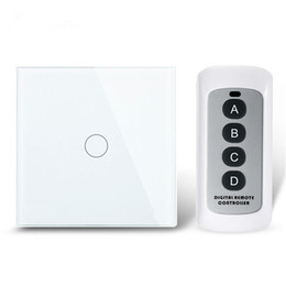 Wholesale Touch Control Gang - Wholesale-EU Remote Control Switch 1 Gang 1 Way, RF 433Mhz Smart Switch Wall, Wireless Remote Control Touch Switch 1Gang Free Shipping