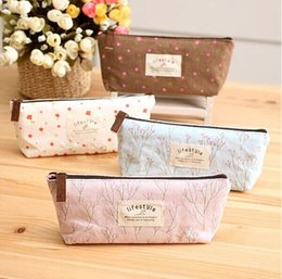 Wholesale Life Style Pencil Case - Wholesale-kawaii Life style Floral canvas Pencil Case Zipper Pencil Bags writing case For Kids School Supplies Korean Stationery