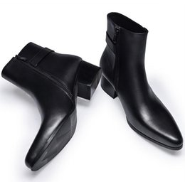 Wholesale Mens Pointed Toe Ankle Boots - new mens pointed toe genuine leather boots high heels fashion buckle designer black ankle boots shoes men botas
