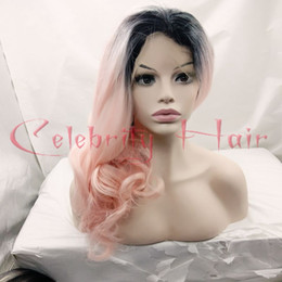 "Wholesale Super Wave Lace Front - 150%Density Black Ombre Pink Hair Synthetic Lace Front Wig Super Wave Hair Heat Resistant Freeshipping Baby Hair20""Two Tone"