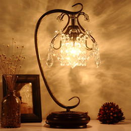Wholesale Red Sea Lighting - Crystal lamp bedside bedroom creative Korean personality light touch warm wedding gift European style table lamp