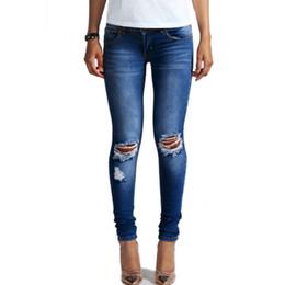 Wholesale 2xl Jeans For Female - Hot Fashion Ladies Cotton Denim Pants Stretch Womens Bleach Ripped Knee Skinny Jeans Denim Jeans For Female