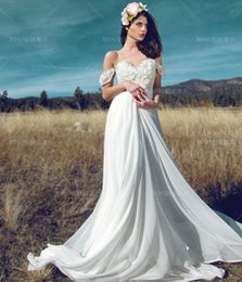 Wholesale Lace Vintage Wedding Dress Affordable - 2017 New Arrival Chiffon Beach Wedding Dresses Lace Affordable Off the Shoulder Cheap Ivory White Bridal Gowns Robe De Marriage Plus Size