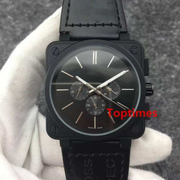 Wholesale Luxury Pvd Mens - Sweep Hand Brand Rose Gold Heritage BR Black Pvd Automatic Mechanical Mens geneva Watch Brown Leather Strap New Luxury Watches Reloj