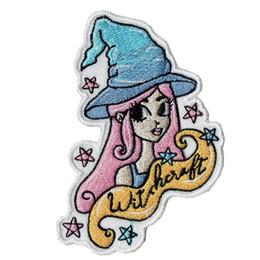 ropa de halloween camisetas Rebajas Nueva bruja bordada Iron-On parche bordado de Halloween mujeres camisas parche ropa tela insignias coser parche emblema envío gratis