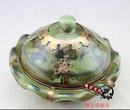 Wholesale Old China Porcelain - Miscellaneous antiques antique old painting compact jewelry box makeup kit package silver painted porcelain Rouge box Qianlong