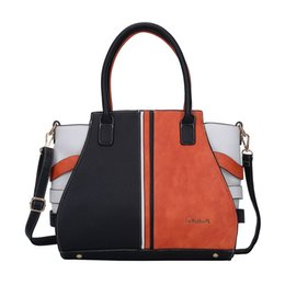Wholesale Orange Tone - 2017 Woman Handbags Casual Totes Brand Designer OL Patchwork Two-tone Bag Fashion Simple Shoulder Bags PU Leather SY5036