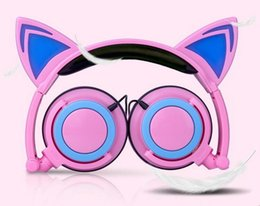 Wholesale Cute Silver Earphones - Cute Cat Ear Headphones with LED light Foldable Flashing Glowing Gaming Elf Headset Music MP3 Earphone For PC Laptop Computer Mobile Phone