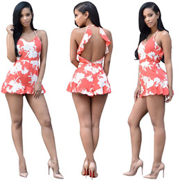 Wholesale Hot Women Short Dresses - America Hot sale Women dress Floral Printed Fashion Jumpsuits Sleeveless backless Rompers Free Shipping