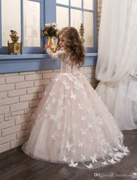 Wholesale Green Butterfly Pictures - 2017 Blush Lace Long Sleeves Ball Gown Flower Girls Dresses Full Butterfly Kids Pageant Gowns Little Girl Birthday Party Dresses