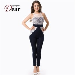 Wholesale Lace Rompers Xs - Wholesale- RB70199 New style popular women's sexy clubwear O-neck sleeveless rompers womens jumpsuit beautiful fitness fashion jumpsuit