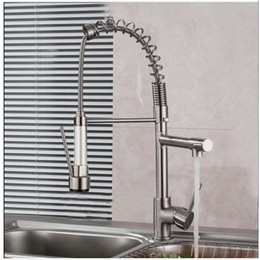 Wholesale Double Mixer - Wholesale- Luxury Brushed Nickel Spring Kitchen Mixer Faucet Single Handle One Hole Double Sprayer