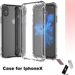 Wholesale corner bumper cushions - Tansparent Dirty Resistant Silicon Light Weight Case for iphone X Transparent Hard PC Back+TPU Bumper Corner Cushion Shockproof phone Shell