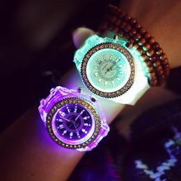Wholesale Geneva Led - 2016 Geneva Luminous LED Sport Shining Watches Quartz Watch ladies Women Men Silicone Casual Wristwatches Relogio Feminino Relojes Mujer