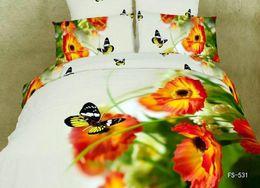 Juego de sábanas con estampado de mariposa online-Romantic Butterfly love 3D Print Funda nórdica Ropa de cama Sábanas Funda de almohada Diseñador 100% algodón 4 piezas Juego de cama Queen Size