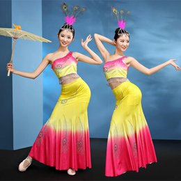 Wholesale Ethnic Wear Clothing - woman Thailand Dai dance clothing Mermaid style Chinese classical stage performance costume ethnic minority peacock dance wear
