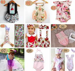 Wholesale sweet tutu - ins summer baby girls lace floral rompers Newborn Infant child Girl sweet Clothes Tassels Strap Lotus Romper Bodysuit Jumpsuit