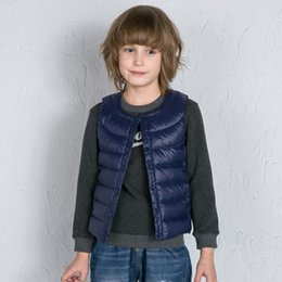 Wholesale White Childrens Coat - Winter Down Young Men And Womens Childrens Vest With Pure Color Round Neck And No Elastic Warm And Cold Down Jackets