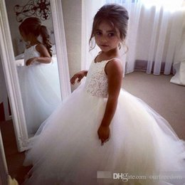 Wholesale Lace Top For Toddler Girl - Cheap Flower Girls Dresses Tulle Lace Top Spaghetti Formal Kids Wear For Party 2016 Free Shipping Toddler Gowns