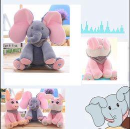 Wholesale rabbit stuffed animals - Peek-a-Boo Elephant Stuffed Animals Hide and Seek Electric Music Plush Toys Elephant pig rabbit Singing Plush Stuffed Doll Toy KKA2744