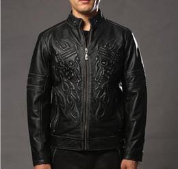 Wholesale Genuine Leather Biker Jacket - REE SHIPPING 2017 Vintage Skulls Leather Motorcycle Jackets Black Stand Collar Genuine Cowskin Slim Fit Men Winter Biker Coat