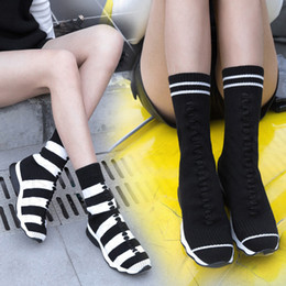 Wholesale Fashionable Rubber Boots - Fashionable Casual Stripe Knitted Elastic Socks Ankle Boots Flat Comfortable Wool Short Boots Shoes women Female Booties sneakers