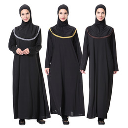 Wholesale Hijab S - 2018 New Design Muslim Women Fashion One -Piece Abaya &Hijab Islamic Maxi Dress 3 Colors S-2XL