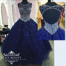 Wholesale Quinceanera Dresses Red Bling - Royal Blue Quinceanera Dresses Ball Gown Prom Dress Custom 2017 Cheap Illusion Sheer Scoop Backless Bling Crystals Sequined Sweet 16 Wear