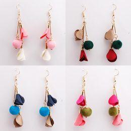 Wholesale Cloth Chandeliers - 2018 Fashion Handmade Cloth Wool Ball Earrings Exaggerated Earrings For Women Long Earrings Drop Fashioin Jewelry 5 Styles D192S