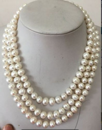Wholesale Pearl Necklace Three Strand - three strands natural Australian south seas white pearl necklace 8-9mm