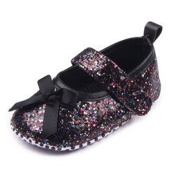 Wholesale Infant Ballet Dress - Wholesale- Fashion Sequin Princess Infant Toddler Kids Mary Jane First Walkers Bling Bling Baby Girls Newborn Soft Soled Ballet Dress Shoes