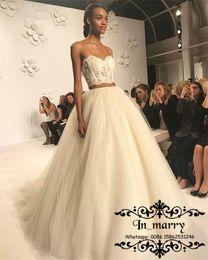 Wholesale Greek Wedding Dresses White - Modest Plus Size Cheap Country Wedding Dresses 2017 A Line Corset Neck Two Pieces Vintage Lace Boho Beach Greek Bridal Gowns Tulle Skirts