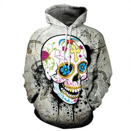 Wholesale Hoodie Women Skull - Wholesale-Multicolor 3D Skull Hoodie Men Women Hip Hop Streetwear Fashion Casual Loose Hooded Tops Harajuku Graphic Sweatshirts Dropship