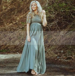 Wholesale Teal Dresses For Prom - Teal Chiffon Long Maternity Evening Dress 2017 Turkish Islamic Muslim Formal Evening Gowns Party Prom Dresses for Pregnant Women