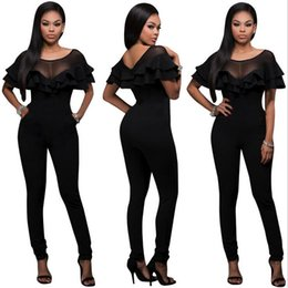 Wholesale New Club Bodysuits - new Fashion Women Sexy Casual Club Skinny Jumpsuits Ladies Regular Playsuits Summer Outfits Bodycon Bangdage Bodysuits WITH Ruffle Edge