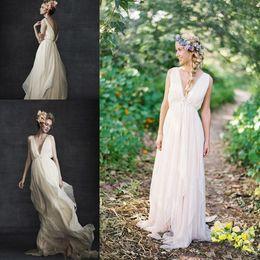 Wholesale Wedding Skirts Flowing - Grecian Backless Beach Wedding Dresses V Neck Flowing Vintage Boho Bridal Dress A Line Vintage Greek Goddess Wedding Gown Summer Style