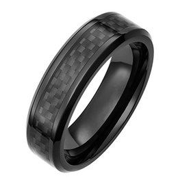 Wholesale Tungsten Mens Rings Sale - Shardon 6mm width tungsten carbide mens ring with black carbon fiber inlay hot sale have in stock