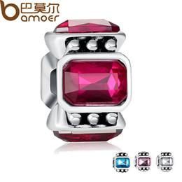 Wholesale Pink Big Hole - Pandora Style Original Big Hole Silver Color Dark Pink Crystal Floating Charm Fit Bracelet Necklace Authentic Accessories