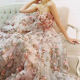 Wholesale Evening Dresses Flower Print - 2017 Fairy Ball Gown Evening Dresses with Sweetheart Neck Sleeveless Floor Length Handmade Flowers Printed Vine Pattern Organza Prom Gowns