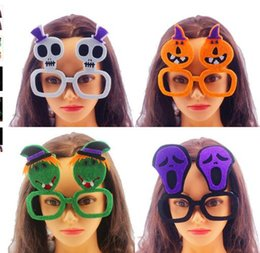 Wholesale Funny Frames - Halloween Cosplay glasses frame non-woven Funny Skeleton Ghost Pumpkin glasses frame No Lens Glasses Fancy Party Props KKA3123