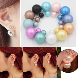 Wholesale cc studs - New Arrival Mix 12 Colors Double Sided Pearl Ball Matte Pearl cc Earrings Double Side Pearl Stud Earrings for Women Brinco