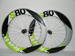 Wholesale Sram Clincher Wheels - Aluminum New Arrival Wheelset Green SRAM s50 s80 50mm Carbon Road Racing Carbon Alloy Clincher Wheels
