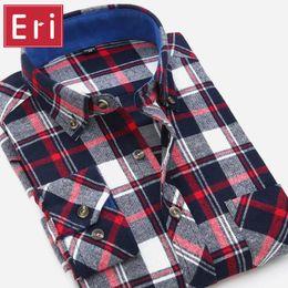 Wholesale Mens Autumn Plaid Shirt - Wholesale- 2017 Autumn Men Shirt Fashion Plaid Slim Fit Dress Long Sleeve Button-Down Brand Winter Mens Shirts Social Free Shipping X094