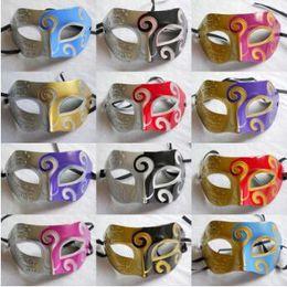 Wholesale Wholesale Plastic Mardi Gras Masks - Masquerade Masks Halloween Christmas Fancy Dress Plastic Half Face Party Mask Knight Prince Masks Mardi Gras Gifts CCA7657 100pcs