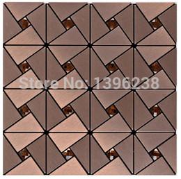 Wholesale Mirror Glass Mosaic Tile - Self-adhesive mirror glass mosaic wall tiles,12''x12'' Metal mosaic tiles sticker,Kitchen backsplash homemosaic decor wall tiles,LSLCB01
