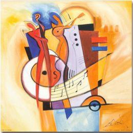 Dipinti jazz online-Dipinti ad olio astratti Jazz on the Square di Alfred Gockel Dipinti a mano su tela